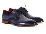 Paul Parkman Men's Blue & Navy Hand-Painted Derby Shoes
