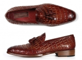Paul Parkman Men's Brown Crocodile Embossed Tassel Loafer