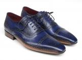 Paul Parkman Men's Captoe Navy Blue Hand Painted Oxfords