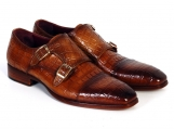 Paul Parkman Men's Double Monkstrap Brown Crocodile Embossed Leather