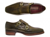 Paul Parkman Men's Double Monkstrap Goodyear Welted Shoes Green