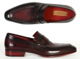 Paul Parkman Men's Loafer Purple & Black Hand-Painted Leather Upper with Leather Sole