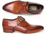 Paul Parkman Men's Monkstrap Shoes Side Handsewn Twisted Leather Sole Tobacco