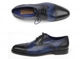 Paul Parkman Men's Parliament Blue Derby Shoes Leather Upper and Leather Sole