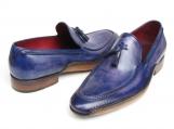 Paul Parkman Men's Side Handsewn Tassel Loafer Blue & Purple