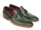 Paul Parkman Men's Side Handsewn Tassel Loafer Green Hand-painted Leather