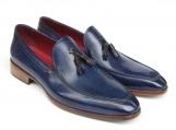 Paul Parkman Men's Tassel Loafer Blue Hand Painted Leather