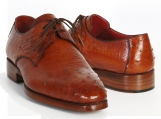 Paul Parkman Men's Tobacco Color Genuine Ostrich Leather Upper Derby Shoes