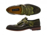 Paul Parkman Men's Wingtip Monkstrap Brogues Green Hand-Painted Leather Upper With Double Leather Sole