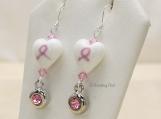 Breast Cancer Awareness, Heart Earrings