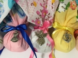 Colorful Hanky Sachet Set, Lot of 12, Lavender with Charm