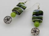 Lime Green Marble Dangle Earrings