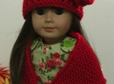 Red Doll Shawl & Hat Set - Knitted - Shipping Fees Included