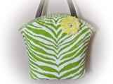 Tootles Boutique Bag - Green Animal Print Canvas Fabric