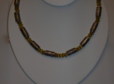 Men's Silver Barrel and Yellow Necklace