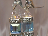 Earrings with Swarovski Crystal Blue Cubes and Clear Bicones