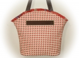 J Castle Boutique Bag - Red Cream Canvas Houndstooth Designer