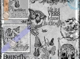 Chase Butterflies, Word art and Digitized Vintage Image Set