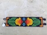Beaded huichol bracelet,  yellow peyotes.19cm long.