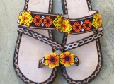 Size  8 USA  beaded sandals, 100% handcrafted Mexican leather