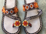 Size 9 USA  beaded sandals, material: mexican leather and beads