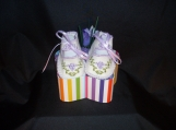 Handmade Lavender Embroidered Baby  Booties