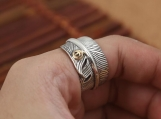 Retro 925 Sterling Silver Feather Ring