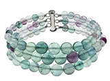 6mm-10mm, Round, Fluorite, 7.5 Inches Long, Three Row, Beaded Strand, Journey Bracelet with 925 Sterling Silver Clasp