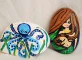 Set of TWO-Ocean theme painted stones