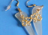 White Sea Glass Dangly Pierced Earrings
