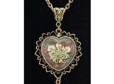 Queen-Ann's-Lace Genuine Pressed Flower Heart Pendant Necklace