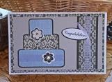 Silver Layered Wedding Cake Card