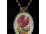 Real Lupine Blossom Pressed Flower Oval Pendant Necklace
