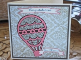 Wedding Vintage Hot Air Balloon Card - Just Married, Newlyweds