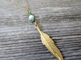 Men's Necklace - Men's Feather Necklace - Men's Gold Necklace