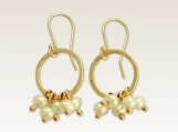 Miss you - 14k gold filled hammered circle and fresh water pearls earrings.