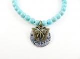 Hand stamped - blessed - bracelet  (med)