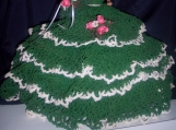 Doll, Barbie, Annies, Calendar, Victorian, Emerald, Green,  gown, Dress, hat, Crochet, Thread, Southern Belle, Southmaid,