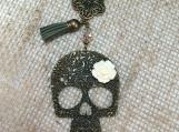 Skull necklace,skull,brass skull,floral skull,Day of the Dead,brass skull,tassel,skull jewelry,skeleton,handmade