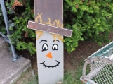 "Wooden Reversible 36"" Tall Scarecrow And Snowman"