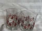 American,  Glasses, Pair,  painted, Drinking, Brown Design