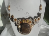 Necklace, Agate, Stone, Souttache, Bead, Pearls, Brown Choker
