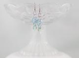 Vintage button ice blue green rock bead dangling earrings