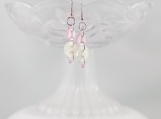 Vintage button soft pink opal colored dangling earrings