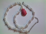 Pearl and Aurora Borealis Beaded Necklace with Pink Teardrop