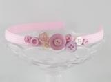 Pink asymmetrical abstract assorted button headband girls