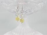 Vintage opal color yellow dangling button earrings Christmas