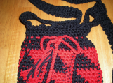 Bag, Red and Black  , Hand-crocheted, Original Design