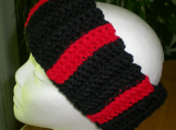 Double ThickEarwarmer, Red and Black