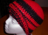 Hat, Red and Black, Beanie Style